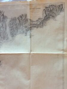 Vintage Nautical Chart D Antibes A Menton Oct 1898