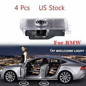 4pcs Welcome Step Courtesy Door Light Led Projector Lamp Car Logo Emblem For Bmw