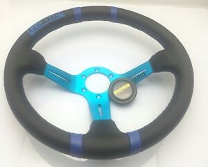 350mm Drifting Leather Deep Dish Steering Wheel Momo Omp Race Blue Alloy Spoke