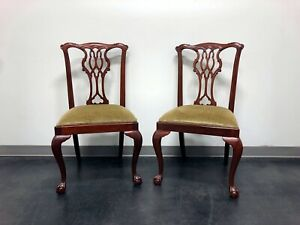 Councill Craftsmen Mahogany Chippendale Style Ball Claw Dining Side Chairs Pair4