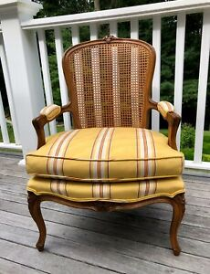 French Chair Louis Fauteuil Bergere Cane Wood Yellow Moire Fabric Pick Up Only