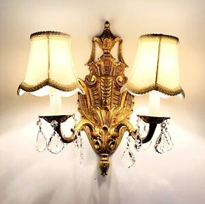 Vintage 2 Pc Victorian 2 Arm Wall Sconces Ornate Brass Crystals Electric