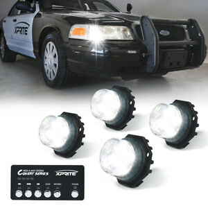 Xprite White Covert 4 Series Led Strobe Lights Hide a way Car Emergency Beacon
