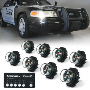 Xprite White 8 Pieces Hide a way Led Strobe Lights Hazard Marker For Truck Jeep