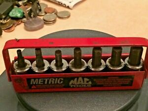 Vintage Rare Mac Tools 3 8 Drive Socket Bit Set With Tray Metric Xds 4mm 10mm