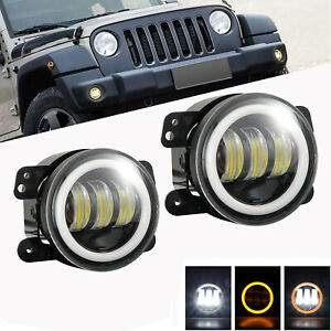 2x 4inch Round Led Halo Drl Fog Light Driving Offroad Lamp For Jeep Jk Dodge