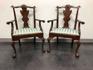 Henkel Harris Model 102 A Chippendale Ball Claw Dining Armchairs Pair