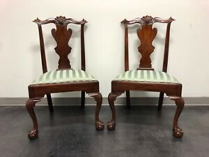 Henkel Harris Model 102 S Chippendale Ball Claw Dining Side Chairs Pair