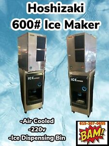 Hoshizaki 600 Ice Maker And Ice Dispenser 120v 22 wide water Cooled