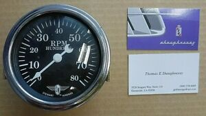 Stewart Warner Winged Logo Curved Glass 8k Rpm Tachometer