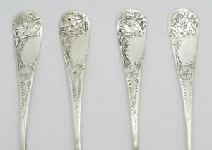 Antique Lot Of 4 Sterling Silver Bright Cut Teaspoons No Monograms