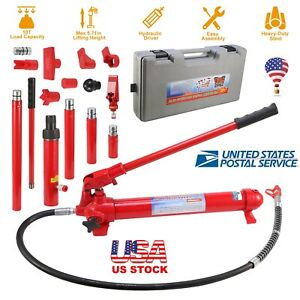 10ton Porta Power Hydraulic Jack Air Pump Lift Ram Body Frame Repair Tool Kit Us