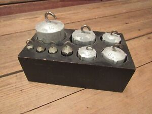 Vintage Set Solid Balance Scale Grams Weights 10 20 100 200 500 1000 Grams