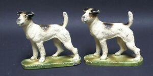 Antique Fox Terrier Dog Cast Iron Bookends Hubley Circa 1930 S