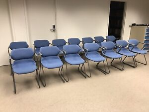 Vintage Acton Stacker Mid Century Modern Chrome Blue Stackable Chairs