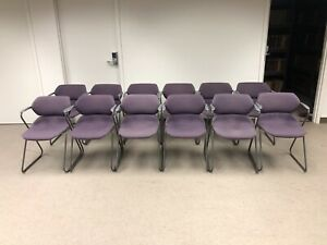 Vintage Acton Stacker Mid Century Modern Chrome Purple Stackable Chair