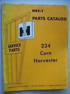 Original International 234 Corn Harvester Hrc 1 Parts Catalog Manual