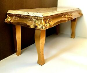 Vintage Gilded Gold Bench Table Ornate Wood Marble