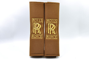 New Rolls Royce Embroidery Gold On Brown Seat Belt Cover Shoulder Pads Pair