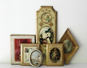 Lot Of 6 Vintage Wooden Florentine Plaques Pictures Italian Gold