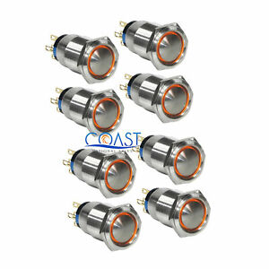 8x Durable 12v 19mm Car Latching Push Button Amber Angel Eyes Led Domed Switch
