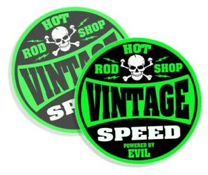 Vintage Speed Decals Powered By Evil Stickers Hot Rod Shop Green 4 2 Pack 764