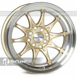 Circuit Performance Cp29 15x8 4 100 4 114 3 0 Gold Wheels Rims set Of 4