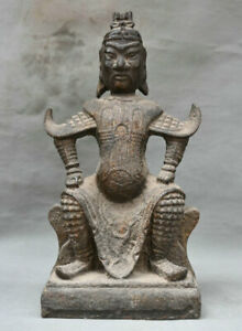 15 Old Chinese Iron Seat General Guan Gong Yu Warrior God Statue Sculpture