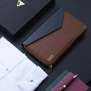 Dulccio Zipped Soft Premium Genuine Leather Folio Free Ship For Charity