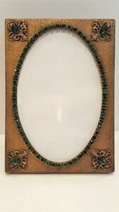Antique Green Jeweled Picture Frame W Glass Vanity Table Desk Frame