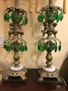 Pair Of Antique Table Lamp Cherub Emerald Green Crystals Marble Brass Tassels 39