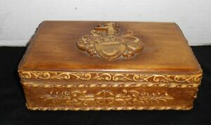 Antique Cedar Box Grain Painted Carved Gesso Coat Of Arms Fox Horn Dog