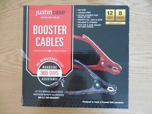 NEW JUSTIN CASE BOOSTER CABLES 12 FOOT 8 GUAGE NO KINK TANGLE FREE XTR FLEXIBLE