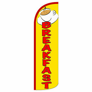 Breakfast Windless Swooper Feather Flag Tall Banner Sign 3 Wide Yellow Red