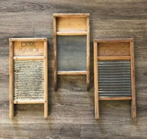 3 Vintage Washboards Metal And Glass
