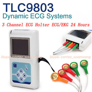 New 3 channel Ecg ekg Holter Recorder 24 Hours Pc Software Oled Display contec