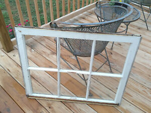 Vintage Farmhouse 6 Pane Wood Window Sash 34 5 X 27 5 Picture Frame Pinterest