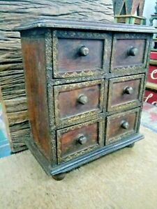 Vintage Small Chest Of Drawers Handmade 6 Drawer Compartment Wooden Rack Use