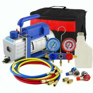 5cfm 1 3hp Air Vacuum Pump Hvac R134a Kit Ac A c Manifold Gauge Set 4000psi Ek
