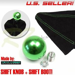For Dodge Jeep Cj 3 8 24 Aluminum Green Round Gear Shift Knob Green Stitch Boot