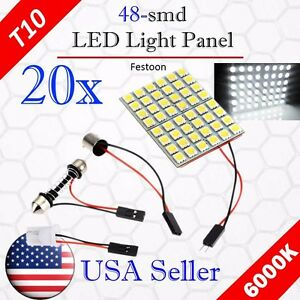 20x Car Festoon T10 Ba9s White Led 48smd Panel Interior Dome Map Light Bulb Lamp