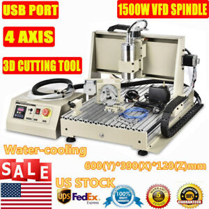 Usb 4axis Cnc Router 6040 Engraver Machine Mill Metal Woodworking 3d Carve1500w