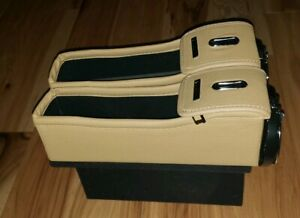 New Lot Of 2 Vae Che Nu Leather Side Pocket Car Organizer Taupe Camel