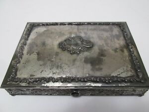 Derby Silverplate Jewelry Box Velvet Lined Cartouche Scroll Embossed Vtg 8x6