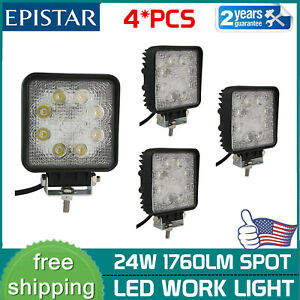 4x 24w Led Work Light Fog Lamp 12v 24v Truck Off Road Tractor Spot Lamp Square