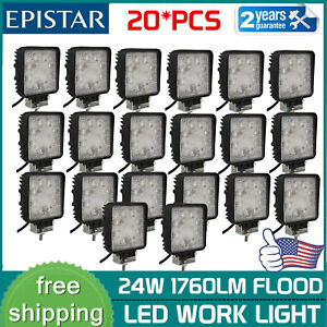 20x 24w Led Work Light Fog Lamp Truck Offroad Tractor Flood Lights 12v24v Square