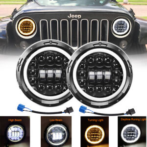 2x 7 Inch Round Led Halo Headlight Hi lo Drl Beam For Jeep Wrangler Jk Lj Tj Cj