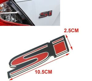 3d Si Red Rear Trunk Body Emblem Logo Badge Decal Sticker For Civic