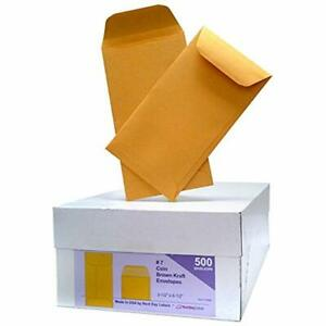 Box Of 500 7 Coin Envelopes Brown Kraft Envelopes Small Parts Cash Etc Office