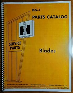 Ih International No 100 Blade Parts Catalog Manual Bs 1 Section H Rev 3 6 69